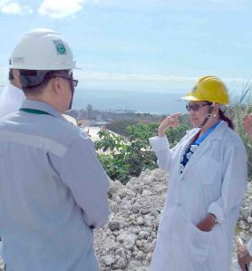 Ocular. Cebu Vice Gov. Agnes A. Magpale inspects the limestone quarry SEDC operates behind the manufacturing facility of Taiheiyo Cement Philippines, Inc.