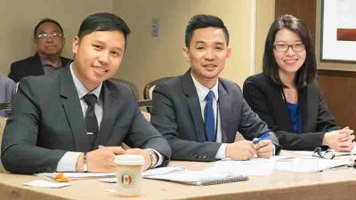 International. Set for their oral arguments are Vincent Joseph Cesista, Rashid Pandi and Kay Beverly Go of the USC Moot Court Team.