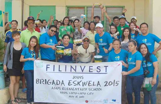 Brigada Agus. Filinvest has helped improve Agus Elementary School as volunteer employees, teachers, city and barangay personnel joined the rehabilitation project under the Brigada Eskwela banner last May 31. They are led by (from left, from 3rd from left) Filinvest project development officer Archie M. Igot, principal Rebecca Toring and Agus Barangay Captain Jimboy Igot.