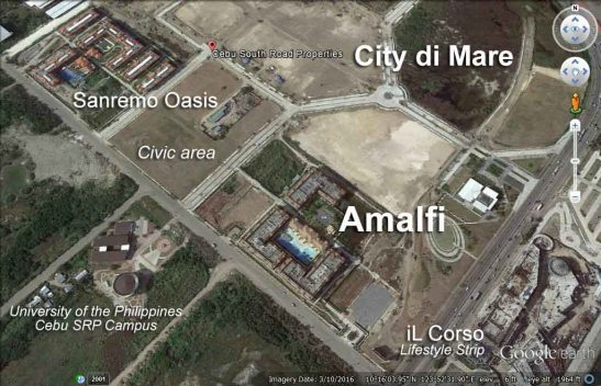AMALFI as seen on Google Earth situated between Sanremo and Il Corso, the commercial lifestyle strip at City di Mare in SRP.