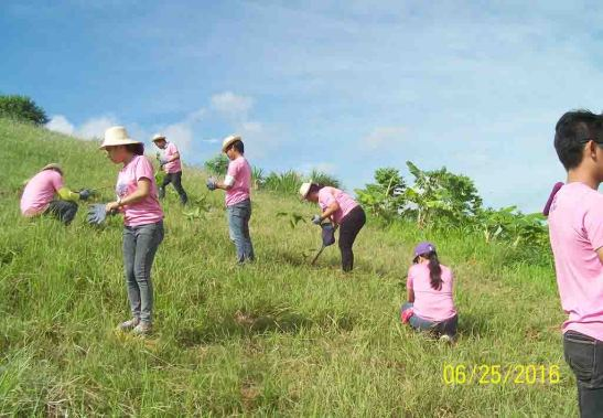 Mined-out.  Volunteer employees Solid Earth Development Corp. plant trees at what used to be a quarry site at Sitio Dubdub in the hinterlands of Barangay Magsico, San Fernando, Cebu.
