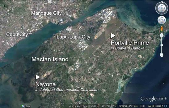 The locations of the 2 Johndorf subdivisions in Mactan Island as shown on Google Earth on March10, 2016.