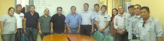 "The People Behind, from left: municipal planning and development officer Eng'r. Shelley Rias, Magsico barangay captain Johnny Arriesgado, municipal engineer Simeon Lauronal, municipal health officer Dr Alfredo Manugas IV, municipal administrator Neil Enriquez, Mayor Antonio ""Abe"" Canoy, SEDC president Atty Dennis Tenefrancia, incoming technical adviser Hiroyuki Sakakibara, outgoing technical adviser Takehito Oga, HRA deputy division manager Mitzie Almira Carin, HRA assistant department manager Gines Boltron, land management staff Michael Loguiber, mining operations section head Engr. Joel A. Sombelon, and land management assistant department manager Vicente Enrilito Edem."