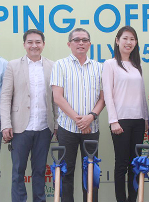 AMALFI project development manager Julie R. Castaños (right) with FLI VP & GM Allan G. Alfon (center) and AVP Visayas sales head Boler L. Binamira.