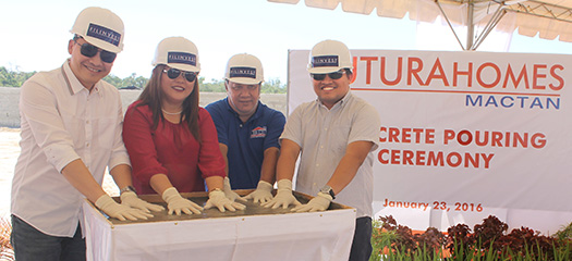 Concrete Pouring. Filinvest AVP Visayas sales head Boler L. Binamira, Futura Homes Mactan sales team head Jeannelley Cabahug, contractor Engr. James Bulusan of Bulusan Construction Services, and Archie M. Igot, project development officer for Futura Homes Mactan, lead the ceremonies on site as they launched FHM Phase 2.