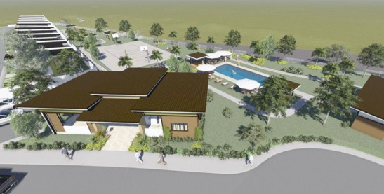 Montierra. An Architect's rendering shows the subdivision clubhouse (foreground left) with the basketball court and the swimming pool at the back, while a row on townhouses may be seen at left.
