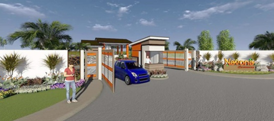 The artist's view of the entrance at Navona in Johndorf Communities in Calawisan.