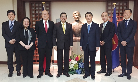 Independence. Top officials of Taiheiyo Cement Corporation (TCC) led by president Shuji Fukuda (3rd from right) join officials at the Philippine Embassy in Japan led by His Excellency Manuel M. Lopez (center) in the 118th celebration of the country's declaration of independence. Photo shows, from left: TCC International Business Division (IBD) head Masao Osumi, two Embassy officials, Lopez, Fukuda, Taiheiyo Cement Philippines, Inc. chairman Ken Kikuchi, and Kosuke Katsuhara, general manager of the Engineering and Technology Department of TCC-IBD.