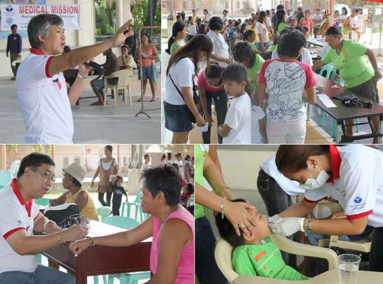 Medical mission. Volunteers from Taiheiyo Cement Philippines, Inc. and Solid Earth Development Corp. attend to patients.